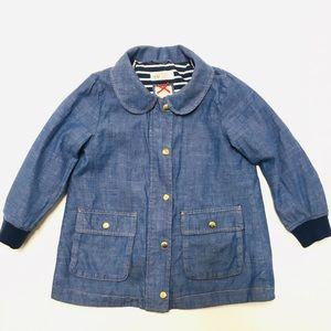 H&M girls Peter Pan retro blue denim jacket 4-5 Y